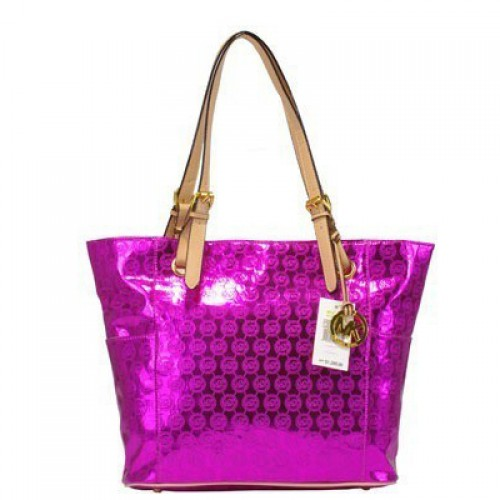Michael Kors Jet Set Mirror Metallic Large Purple 01 Totes