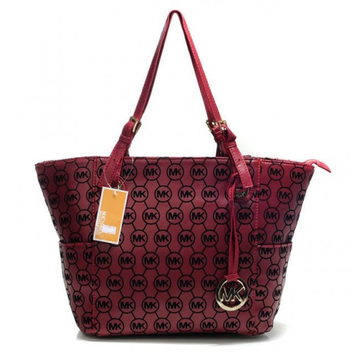 Michael Kors Jet Set Monogram Signature Medium Black Cherry