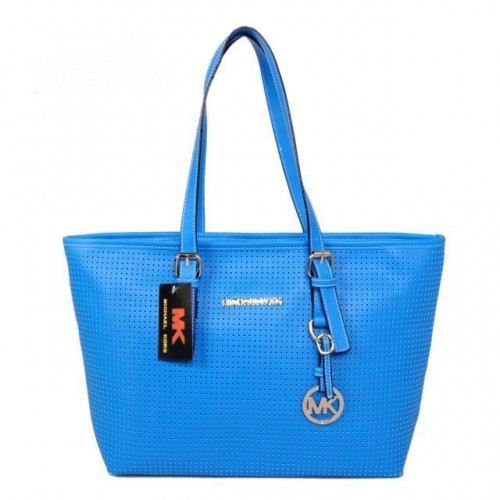 Michael Kors Jet Set Perforated Travel Small Blue Totes
