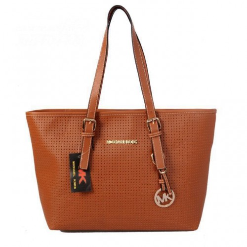 Michael Kors Jet Set Perforated Travel Small Brown Totes