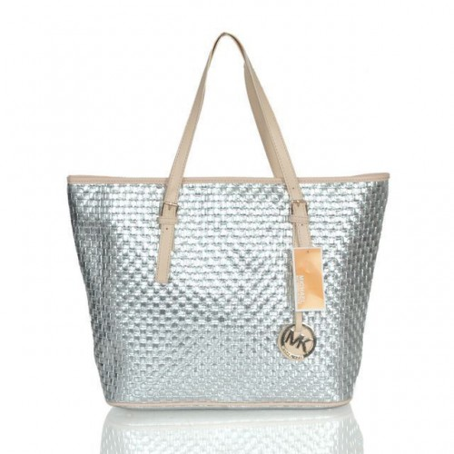 Michael Kors Logo Knitted Large Silver Totes
