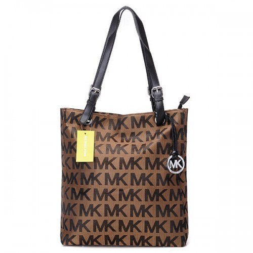 ichael Kors Jet Set Logo Large Brown Totes 06