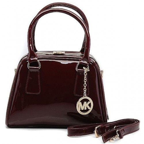 Michael Kors Lock Logo Large Black Cherry Totes