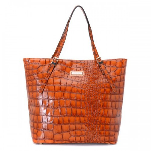 Michael Kors Gia Large Slouchy Tote Orange Crocodile-embossed Leather