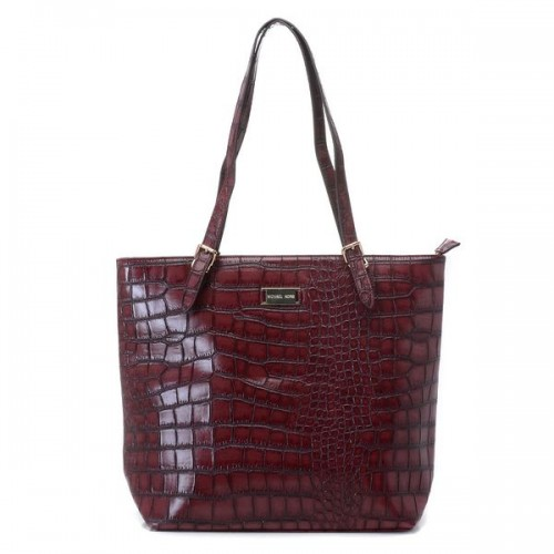 Michael Kors Gia Large Slouchy Tote Plum Crocodile-embossed Leather