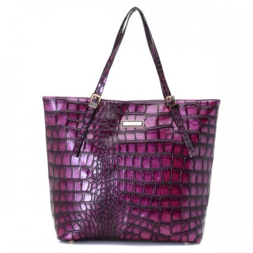 Michael Kors Gia Large Slouchy Tote Purple Crocodile-embossed Leather