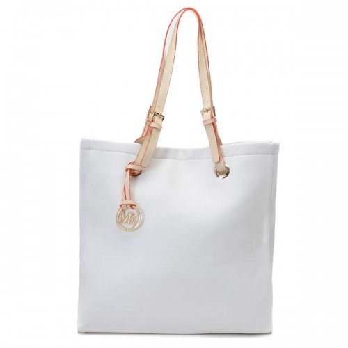 Michael Kors Jet Set Leather Tote Dove White Leather