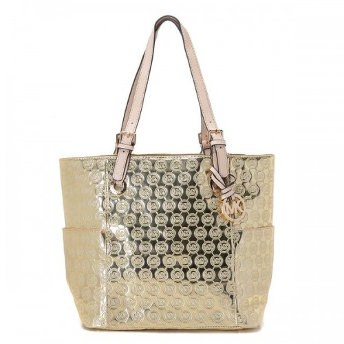 Michael Kors Jet Set Monogram Signature Item Tote Pale Gold Patent Leather
