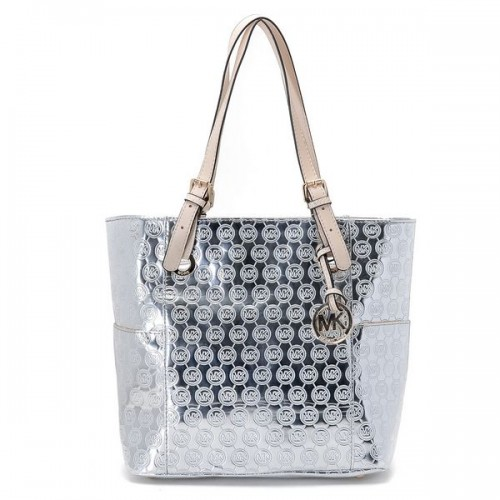 Michael Kors Jet Set Monogram Signature Item Tote Silver Patent Leather