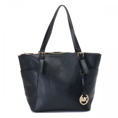 Michael Kors Jet Set Zip-Top Tote Black Leather