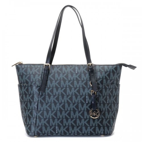 Michael Kors Jet Set Zip-top MK Logo Tote Black Blue