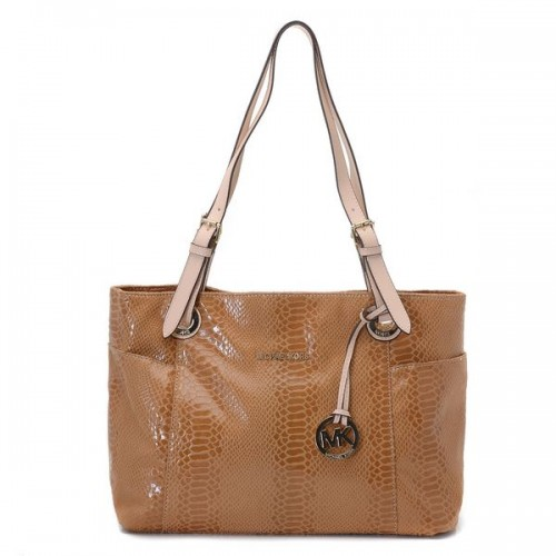 Michael Kors Jet Set Zip-top Tote Brown Python-embossed Leather