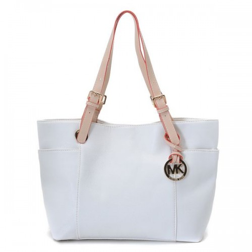 Michael Kors Jet Set Zip-top Tote Vanilla Smooth Leather with Buff Leather Handles