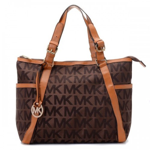 Michael Kors Whipped Large Zip-top Monogram Tote with Brown Leather