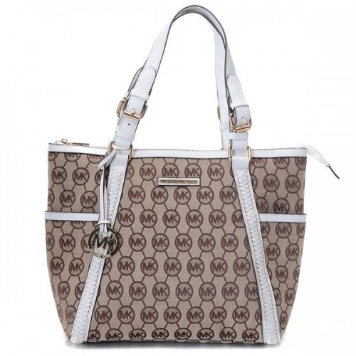 Michael Kors Whipped Large Zip-top Monogram Tote with Vanilla Leather