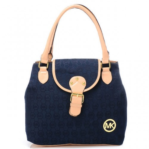 Michael Kors Logo Monogram Medium Navy Totes