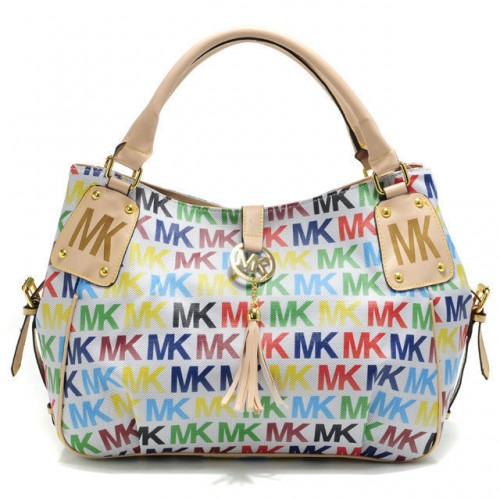 Michael Kors MK Signature Large White Multicolor Totes