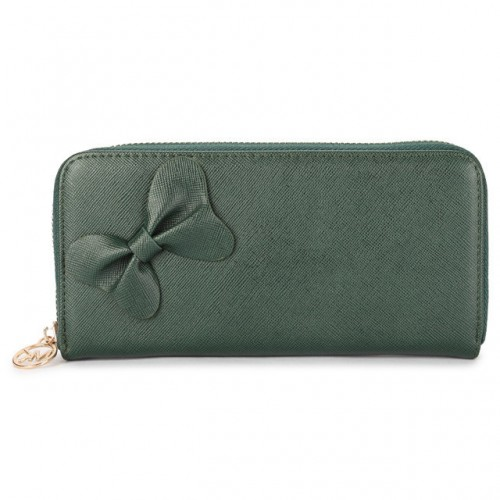 Michael Kors Bowknot Leather Large Green Wallets
