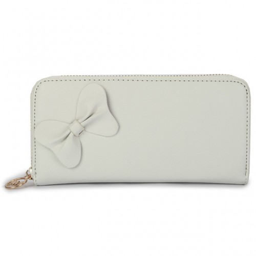 Michael Kors Bowknot Leather Large White Wallets