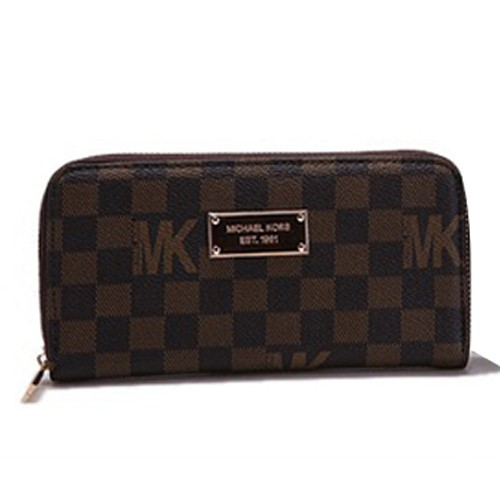 Michael Kors Check Logo Continental Zip Around 005 Large