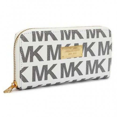 Michael Kors Continental Logo Large White Wallets