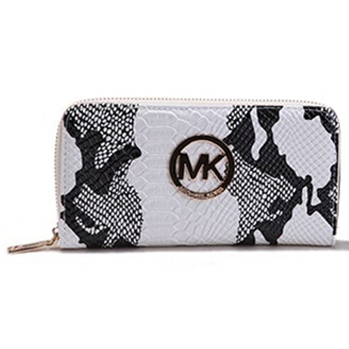 Michael Kors Crocodile Embossed Leather Large White Wallets