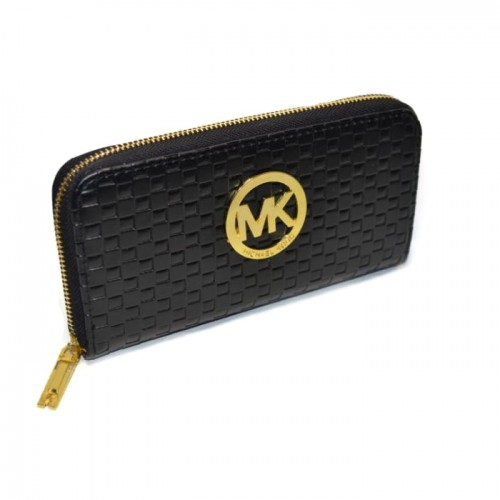 Michael Kors Embossed Leather Large Black Wallets
