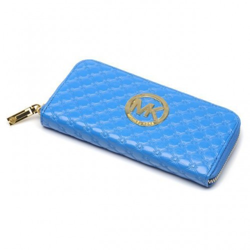 Michael Kors Embossed Leather Large Blue 006 Wallets