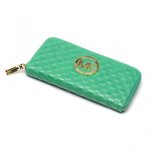 Michael Kors Embossed Leather Large Green Wallets