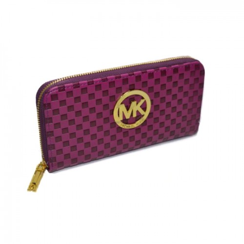 Michael Kors Embossed Leather Large Purple Wallets