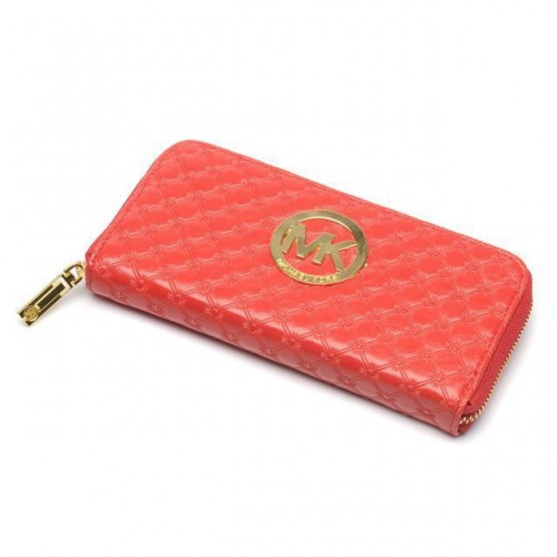 Michael Kors Embossed Leather Large Red 008 Wallets