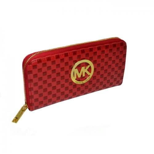 Michael Kors Embossed Leather Large Red Wallets