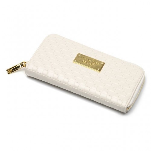 Michael Kors Embossed Leather Large White Wallets