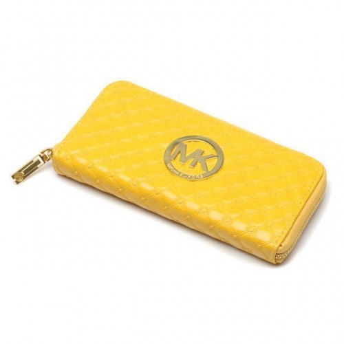 Michael Kors Embossed Leather Large Yellow Wallets