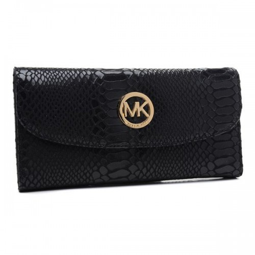 Michael Kors Embossed Logo Large Black 006 Wallets