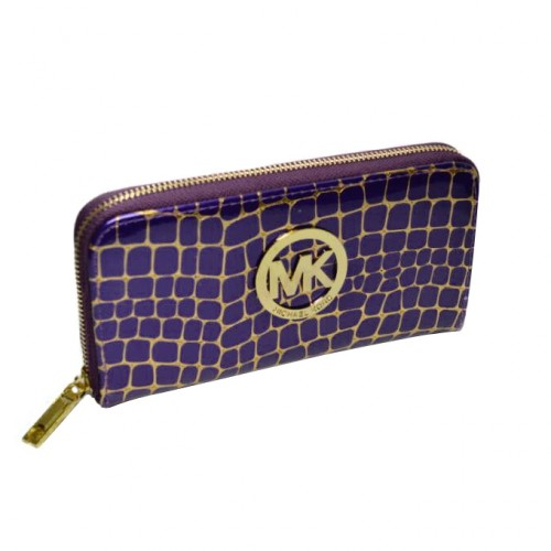 Michael Kors Embossed Logo Large Purple Wallets