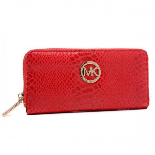 Michael Kors Embossed Logo Large Red Wallets