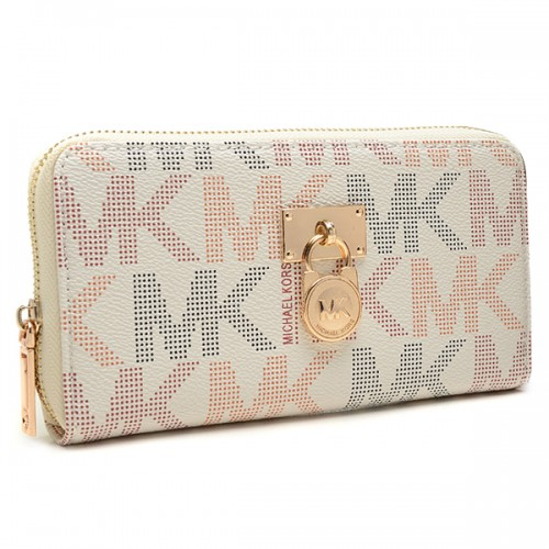 Michael Kors Hamilton Continental Large White Wallets