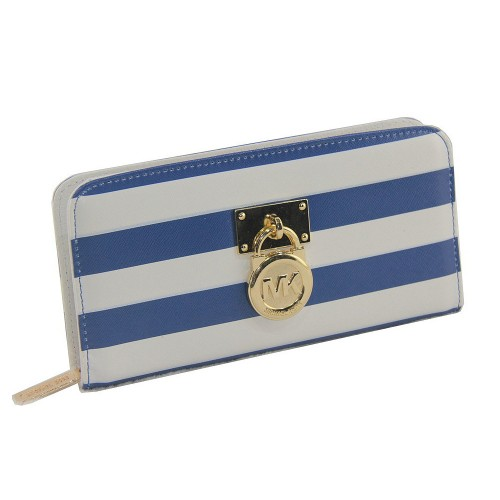Michael Kors Hamilton Logo Striped Large Blue Wallets