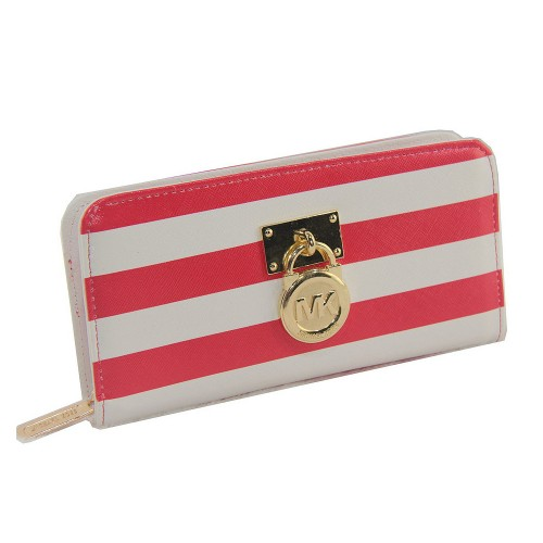 Michael Kors Hamilton Logo Striped Large Red Wallets