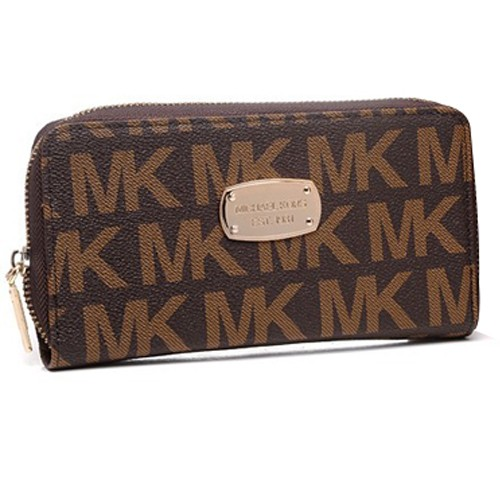 Michael Kors Jet Set Continental Large Brown Wallets