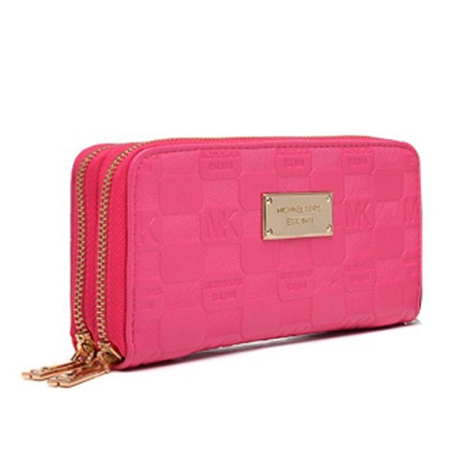 Michael Kors Jet Set Double Zip Around Large Pink Wallets