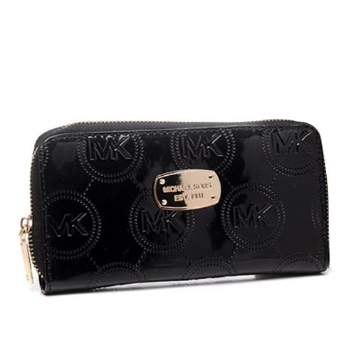 Michael Kors Jet Set Monogram Continental Large Black Wallets