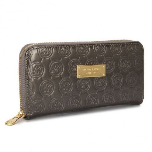 Michael Kors Jet Set Monogram Mirror Metallic Large Grey 054 Wallets