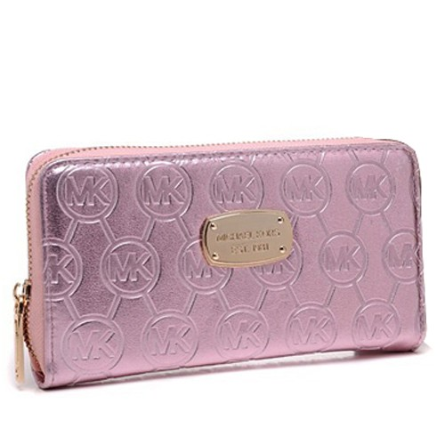 Michael Kors Jet Set Monogram Mirror Metallic Large Pink Wallets