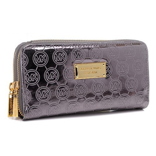 Michael Kors Jet Set Monogram Mirror Metallic Large Purple