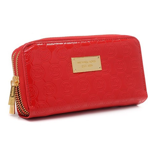 Michael Kors Jet Set Monogram Mirror Metallic Large Red 007 Wallets