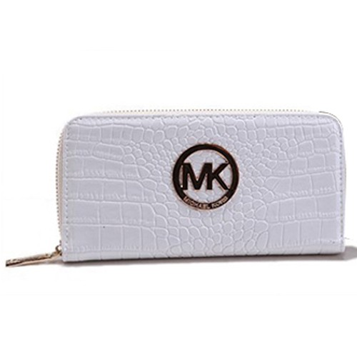 Michael Kors Jet Set Python Continental Large White Wallets