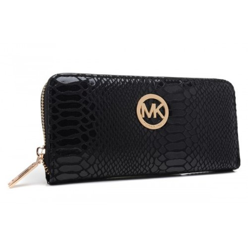 Michael Kors Jet Set Python-Embossed Continental Wallet Black