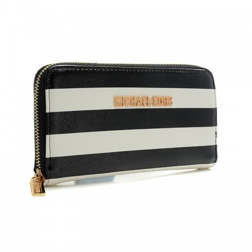 Michael Kors Jet Set Striped Zip Small Black white Wallets